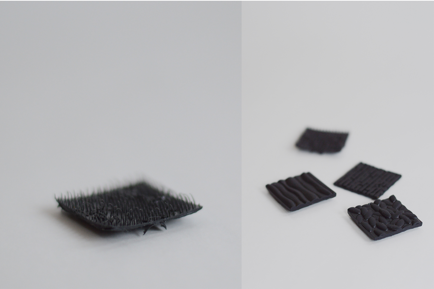 Texture tiles 3D printed in black resin.