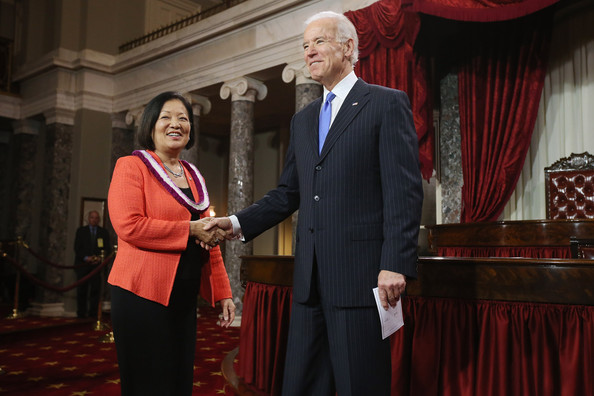 Mazie Hirono shakes hands with Vice President Joe Biden after being sworn in to the U.S. Senate. (Image credit: Mazie Hirono)
